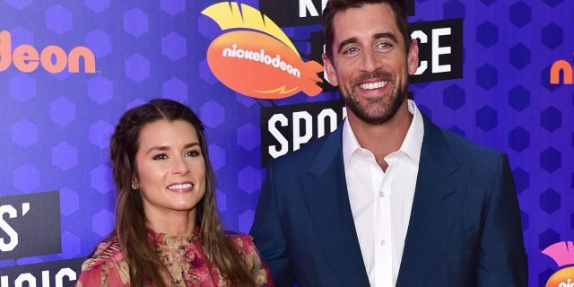 Aaron Rodgers and Danica Patrick at the Nickelodeon Kids' Choice Sports
